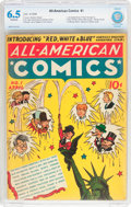 Golden Age (1938-1955):Adventure, All-American Comics #1 (DC, 1939) CBCS FN+ 6.5 Off-white pages....