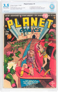 Golden Age (1938-1955):Science Fiction, Planet Comics #1 (Fiction House, 1940) CBCS VG- 3.5 Cream to off-white pages....