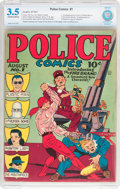 Golden Age (1938-1955):Superhero, Police Comics #1 (Quality, 1941) CBCS VG- 3.5 Off-white to white pages....