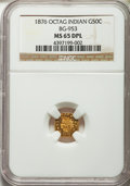 California Fractional Gold , 1876 50C Indian Octagonal 50 Cents, BG-953, R.5, MS65 DeepProoflike NGC....