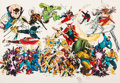 """Memorabilia:Comic-Related, Michael Golden """"Merry Marvel Marching Confusion"""" Color Guide Production Art (SQ Productions, 1982)...."""