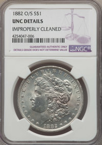 1882-O/S $1 Strong -- Improperly Cleaned -- NGC Details. UNC. NGC Census: (72/927). PCGS Population: (100/1638). CDN: $1...