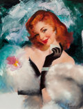 Pin-up and Glamour Art, Maxine (M. Runci) Stevens (American, 20th Century). GlamourPortrait. Oil on canvas. 25.5 x 19.5 in.. Signed lower right...