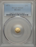 California Fractional Gold , 1871 25C Liberty Round 25 Cents, BG-812, Low R.5, MS65 PCGS. PCGSPopulation: (11/4). NGC Census: (5/4). ...