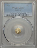 California Fractional Gold , 1871 25C Liberty Round 25 Cents, BG-812, Low R.5, MS66 PCGS. PCGSPopulation: (3/1). NGC Census: (4/0). ...