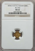 California Fractional Gold , 1874/3 50C Indian Octagonal 50 Cents, BG-943, High R.4, MS62 NGC.NGC Census: (2/3). PCGS Population: (8/29). ...