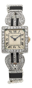 Timepieces:Wristwatch, Cartier, European Watch & Clock Co. Exceptional Platinum Art Deco Diamond, Onyx & Seed Pearl Watch, circa 1915. ...