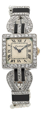 Cartier, European Watch & Clock Co. Exceptional Platinum Art Deco Diamond, Onyx & Seed Pearl Watch, circa 1915...