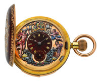 Swiss Rare & Very Fine Carillon Minute Repeating Three Motion Automaton With Gold, Enamel & Diamond Case, circa...