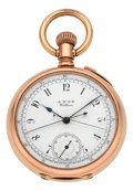 Timepieces:Pocket (pre 1900) , Waltham Rare 14k Gold Split Second Chronograph, circa 1886. ...