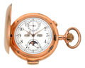 Timepieces:Pocket (post 1900), Swiss 18k Gold Minute Repeater With Chronograph, Moon Phase & Calendar, circa 1905. ...