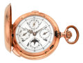 Timepieces:Pocket (pre 1900) , Swiss Rose Gold Quarter Hour Repeater With Chronograph, Calendar& Moon Phase, circa 1895. ...