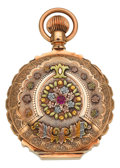 Timepieces:Pocket (pre 1900) , Waltham Multicolor Gold & Ruby 18 Size Box Hinge Hunters Case,circa 1891. ...