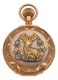Timepieces:Pocket (post 1900), Waltham Very Fine 18 Size Gold Multicolor Box Hinge, circa 1903....