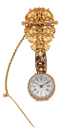 Timepieces:Other , Tiffany & Co. Ball Watch With Signed Gold Chatelaine. ...