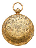 Timepieces:Pocket (pre 1900) , R. Hess & Co. Heavy 18k Gold Reversible Cased Lever Fusee,circa 1860's. ...