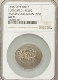 Expositions and Fairs, 1892 World's Columbian Expo Token, E-372, MS63 NGC. Struck on 1889Elongated Nickel....