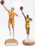Basketball Collectibles:Others, Kareem Abdul Jabbar and Jerry West Signed Statues (2)....