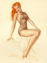 Alberto Vargas (American, 1896-1982) Vargas Girl, Esquire calendar illustration, February 1946 Water