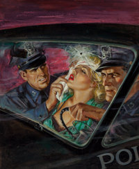 Howell Dodd (American, 1910-2005) Bring Her in Alive, Police Detective magazine, August Oil on paper