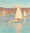 Paintings, John Ford Clymer (American, 1907-1989). Ice Boating, Saturday Evening Post cover, November 28, 1959. Oil on board. 30 x ...