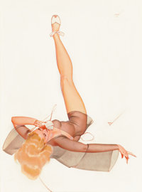 George Petty (American, 1894-1975) Flirtatious on the Phone, Petty Girl Pin-Up calendar illustration, D