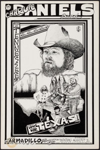 """The Charlie Daniels Band at the Armadillo World Headquarters (AWH, 1976). Concert Window Card (11.5"""" X 17.5"""")..."""