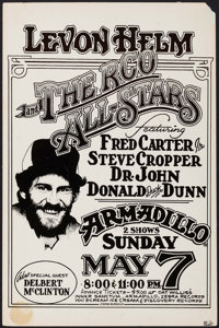 """Levon Helm and the RCO All-Stars at Armadillo (M.Priest, 1978). Concert Poster (11.5"""" X 17.5""""). Rock and Roll..."""