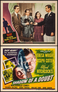 """Shadow of a Doubt (Universal, 1943/R-1946). Title Lobby Card & Lobby Card (11"""" X 14""""). Hitchcock. ... (Tot..."""