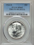 Kennedy Half Dollars, 1964-D 50C Tripled Die Obverse, FS-103, MS65 PCGS. (FS-013.5). PCGSPopulation: (10/1). NGC Census: (20/0). Mintage 156,20...