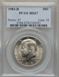 Kennedy Half Dollars, 1983-D 50C MS67 PCGS. PCGS Population: (32/1). NGC Census: (5/0).Mintage 32,472,244. ...