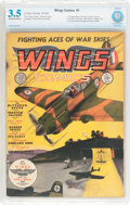 Golden Age (1938-1955):War, Wings Comics #1 (Fiction House, 1940) CBCS VG- 3.5 Off-white towhite pages....