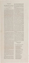 Miscellaneous:Broadside, [Emancipation Proclamation]. Broadside: Remarks of S. Hathaway at aReception of the 25th Massachusetts Volunteers....