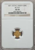 California Fractional Gold , 1871 50C Liberty Octagonal 50 Cents, BG-927, Low R.5, AU58 NGC. NGCCensus: (5/5). PCGS Population: (6/28). ...