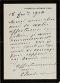Autographs:Artists, Claude Monet Autograph Letter Signed. ...