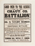 Miscellaneous:Broadside, Civil War Recruiting Broadside for the Chautauqua Battalion, 72ndNew York Infantry, Under Colonel Nelson Taylor....