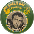 """Football Collectibles:Others, Early 1960's Fred """"Fuzzy"""" Thurston Regular Size (3.5"""") Green Bay Packers """"Idea Promotions"""" Pinback Button. ..."""