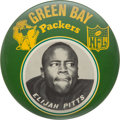 """Football Collectibles:Others, Early 1960's Elijah Pitts Oversized (6"""") Green Bay Packers """"Idea Promotions"""" Pinback Button. ..."""