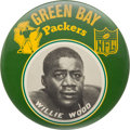 """Football Collectibles:Others, Early 1960's Willie Wood Oversized (6"""") Green Bay Packers """"Idea Promotions"""" Pinback Button. ..."""