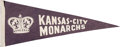 Baseball Collectibles:Others, Circa 1950s' Kansas City Monarchs Pennant....