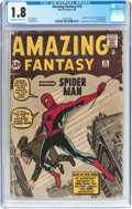 Silver Age (1956-1969):Superhero, Amazing Fantasy #15 (Marvel, 1962) CGC GD- 1.8 Off-white to white pages....