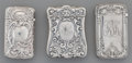 Silver Smalls:Match Safes, Three Gorham Silver Match Safes, Providence, Rhode Island, circa1898. Marks to all: (lion-anchor-G), STERLING, B1175; B40...(Total: 3 Items)