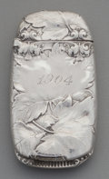 Silver Smalls:Match Safes, A Gorham Silver Match Safe with Oak Foliage, Providence, RhodeIsland, circa 1901. Marks: (lion-anchor-G), STERLING,B838M...
