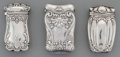 Silver Smalls:Match Safes, Three Gorham Silver Match Safes, Providence, Rhode Island, circa1887-1894. Marks to all: (lion-anchor-G), STERLING, (da...(Total: 3 Items)