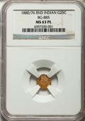 California Fractional Gold: , 1880/76 25C Indian Round 25 Cents, BG-885, R.3, MS63 Prooflike NGC.NGC Census: (8/19). ...