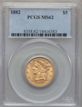 Liberty Half Eagles: , 1882 $5 MS62 PCGS. PCGS Population: (1540/932). NGC Census: (2787/1981). CDN: $425 Whsle. Bid for problem-free NGC/PCGS MS6...