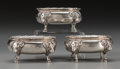 Silver Holloware, American:Open Salts, Three Peter L. Krider & Co. Silver Figural Open Salts,Philadelphia, Pennsylvania, circa 1870-1875. Marks:STERLING, (li... (Total: 3 Items)