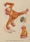 Works on Paper, Lawson Wood (British, 1878-1957). Percy Lends Gran'pop his Yoyo, probable Collier's magazine cover. Watercolor and ink o...