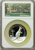 Australia, 2012-P $1 High Relief, Silver Kangaroo Dollar PR70 Ultra Cameo NGC. One of First 3000 Struck. NGC Census: (0). PCGS Populat...