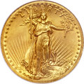 High Relief Double Eagles, 1907 $20 High Relief, Wire Rim MS65 PCGS Secure....